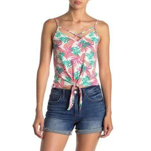 Poof! Tropical Print Tie Front Strappy Tank Top M